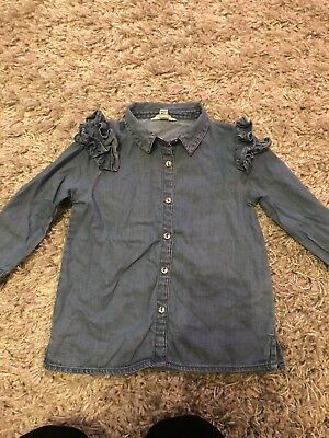 River Island Mini Girls 12-18 Months Denim Blouse Shirt