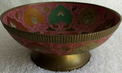 Vintage Solid Brass Bowl - Ornate Hand Painted Multicolored Floral Design. Nice!