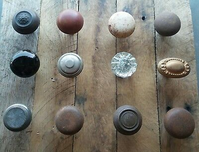 Antique Vintage Old Victorian Brass Glass Door Knob Lot (12) Repurpose