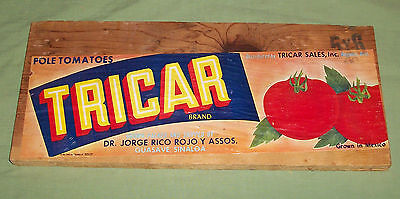 Vtg Paper Advertising Label Wood Tomato Crate Tricar Jorge Rico Nogales Az Ranch