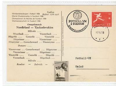 SWEDEN: 1958 Football World Cup postcard with special postmark (C37558)