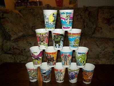 MONSTER 7-11 SLURPEE CUP SET-  ALL 14 CUPS ARE IN NM CONDITION VINTAGE '70s