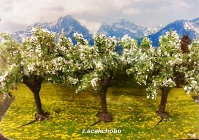 """Noch 25511 N/Z Scale Fruit Trees White 3-Pack 1.7""""-Tall *NEW USA Dealer"""