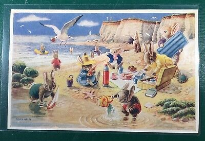 "Racey Helps PK 300 ""Picnic On The Beach"" Dressed Bunnies Rabbits MEDICI Postcard"