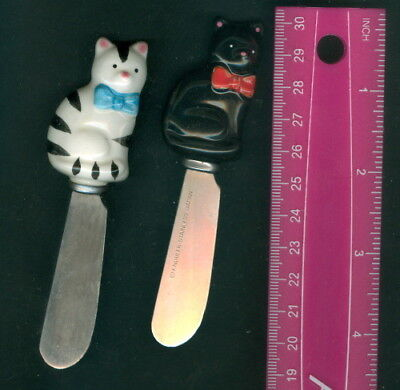 Lot Of 2 ~ Vintage Knobler Stainless KITTY CAT Cheese Butter Spreader Knives