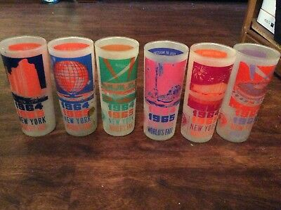 New York NY Worlds Fair Glasses 1964-1965 Set of 6 Different Exhibitions Vintage