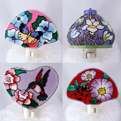 NWT Assorted Top Quality Real Stain Glass Hand Made Night Light Nightlight