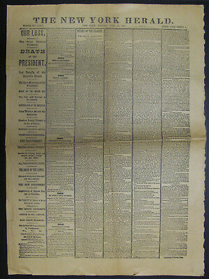 New York Herald ABRAHAM LINCOLN ASSASSINATION April 15 1865 Newspaper Article