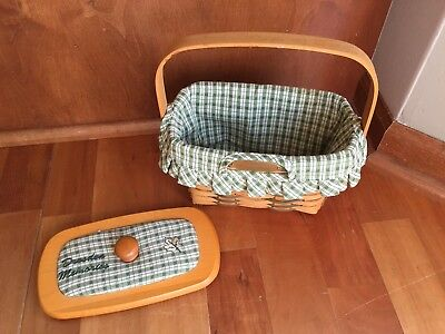 Longaberger Dresden BASKET 2001 with Wooden Lid and Fabric Liner