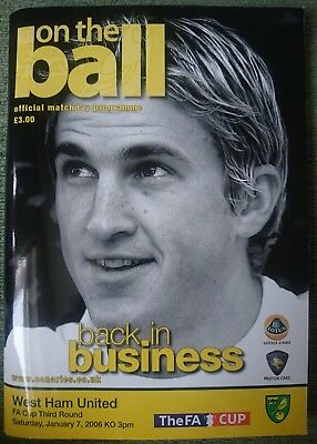 Norwich City FC FA Cup 3rd Round programme 07/01/06 vs West Ham United