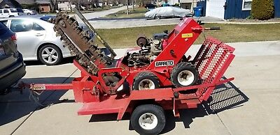 BARRETO 1824-D Walk Behind TRENCHER Honda GX610 V-Twin WITH TRAILER Check PICS