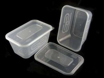 Heavy Duty SATCO 1000ML Plastic Containers & Lids Microwave Food Safe Takeaway
