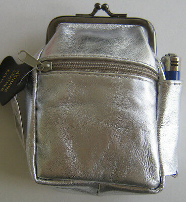 Silver Genuine Leather Snap Cigarette Case 2 Zipper pockets-1 Lighter Pouch 100s