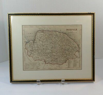 Vintage map of Norfolk England nicely framed 13 and a 1/2 by 11 and a 1/2