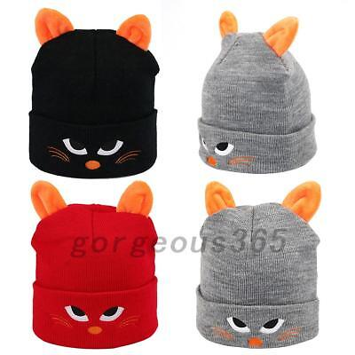 Creative Pullover Cap Children Cartoon Cat Embroidery Knit Hat Creative Cat Ears