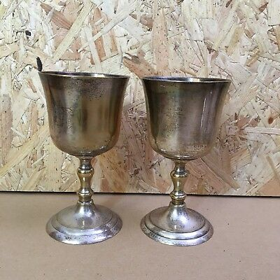 2 x Vintage Silver Plated Wine Goblets / Glasses - 13cm tall