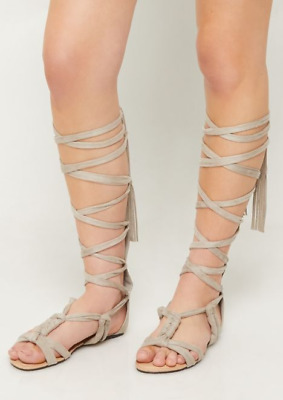 14ae17e91482 NEW Wild Diva Women s Light Gray Lace Up Wrap Gladiator Sandals (Choose  Size)