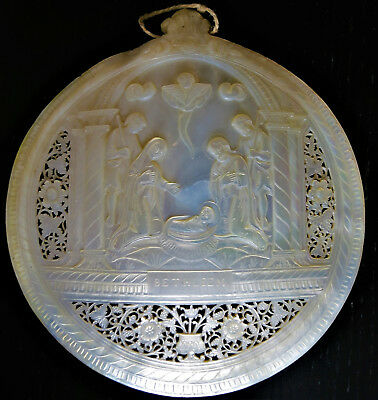 Antique Hand Carved Shell. Mother Of Pearl From Holy Land Jerusalem. Very Fine
