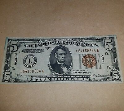 Rare SCARCE WWII 1934A HAWAII OVERPRINT $5 FEDERAL Reserve Note