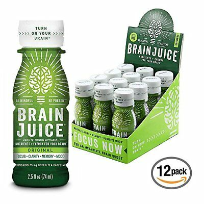BrainJuice Brain Booster Vitamins Memory Focus Supplement Shots 12 - 2.5 fl oz b
