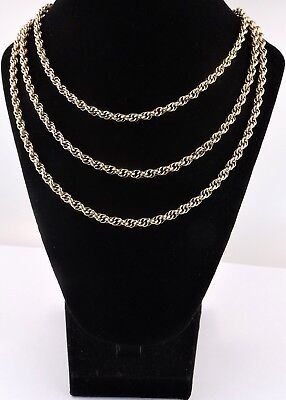 """VTG 12K Y. Gold Filled Rope/Link Necklace Chain 39"""" Long Heavy 22.8 grams 815-02"""