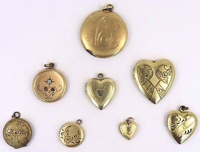 Antique Vintage Gold Filled - Lot of 8 Etched Locket Pendants 815-04