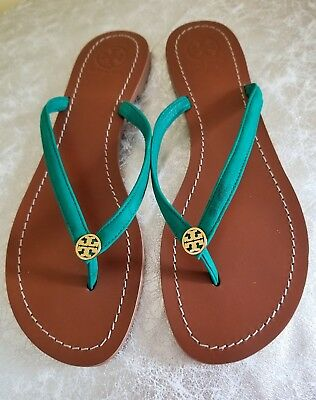 dcd57a31bf78 TORY BURCH  TERRA  Thong Sandals Shoes Leather Flip Flops Black Size ...