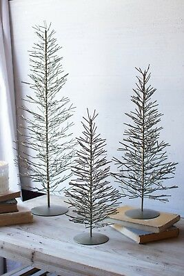 Wire Christmas Tree Antique Brass Metal Wire Twig Branch ChristmasTrees Set 3