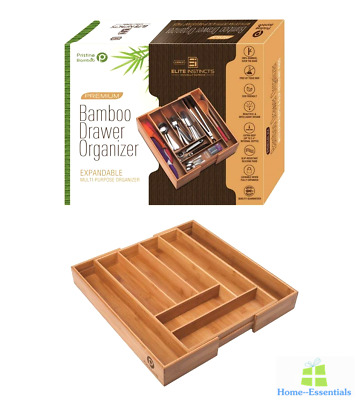 Deep Kitchen Drawer Organizer Expandable Cutlery Tray Bamboo Adjustable Storage