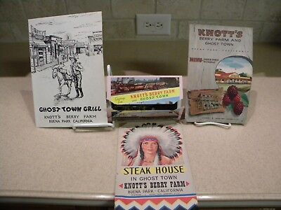 LOT OF 3 KNOTT'S BERRY FARM MENUS GHOST TOWN GRILL 1950's & PICTURE CARD SET