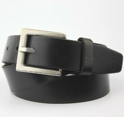 """Black Thick Real Leather Vintage Retro Buckle Belt 32mm wide Fits 32-36"""" Waist"""