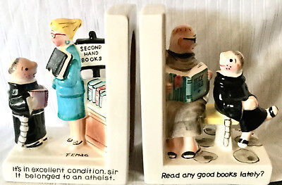 """Comic Pair Of """"brother Juniper"""" Bookends, """"second Hand Books""""/""""read Any Good"""""""