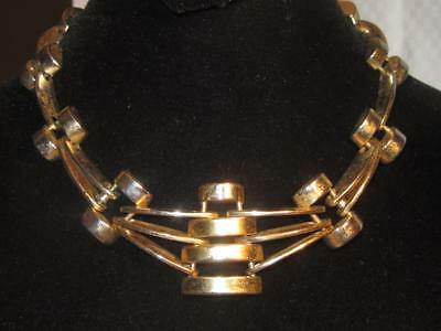 Vintage Geometric Art Deco Signed Heavy Necklace JERAY