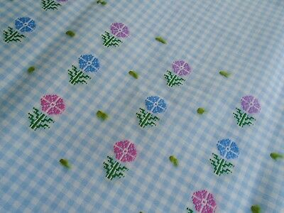 Vintage Light Weight Fabric, Blue Gingham with Embroidery & tufts, Yardage