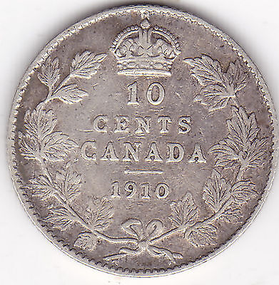 1910 10 Cents Canada King Edward VII 92.5% Silver