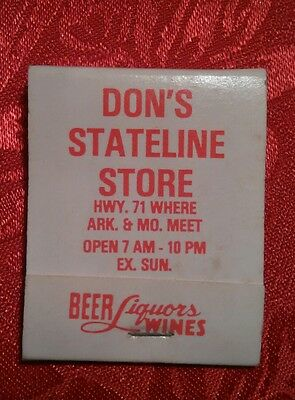 old match book Don's stateline store beer and liquor