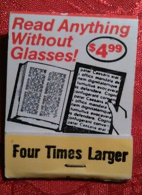 old match book  Full page magnifier ad