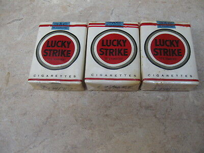 Lucky Strikes Cigarettes Vintage 3 Packs