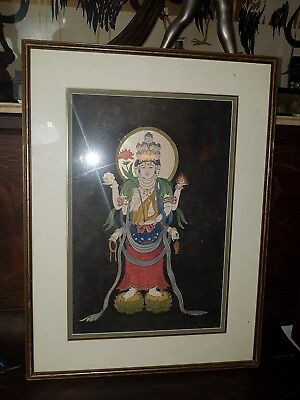 Antique painting Hindu god in gold and mixed media one of a pair
