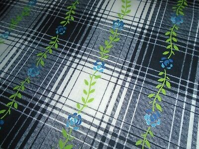 True Vintage 37 inch wide Cotton Fabric, YARDAGE Black Plaid with floral stripes