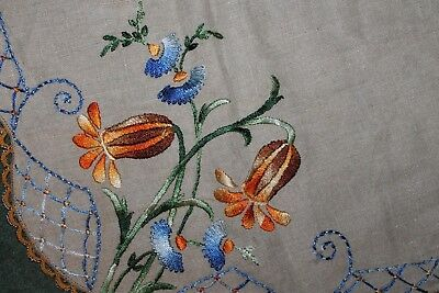 Vintage True Arts And Crafts Embroidered Tablecloth