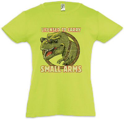 Licensed To Carry Small Arms Kids Girls T-Shirt Tyrannosaurus T-Rex Fun Fire