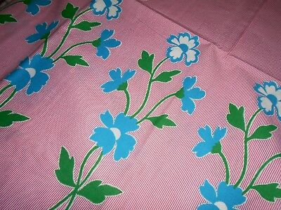 Vintage 36 Inch Wide Cotton Fabric, Floral Border on Pink and White Pin Stripe