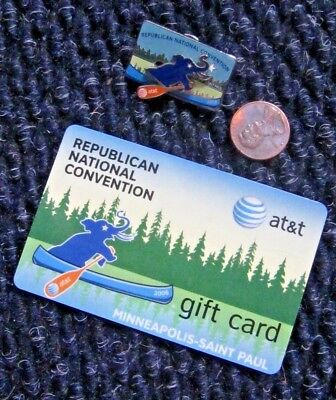 Republican National Convention 2008 Minneapolis St Paul Movable Pin + Gift Card