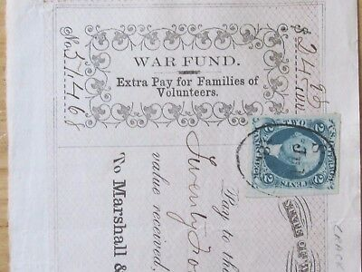 1863 Civil War Volunteer Soldier Family Pay State Wisconsin , To A. Strang