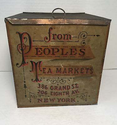 antique Large Store Display TIN from Peoples Tea Markets New York