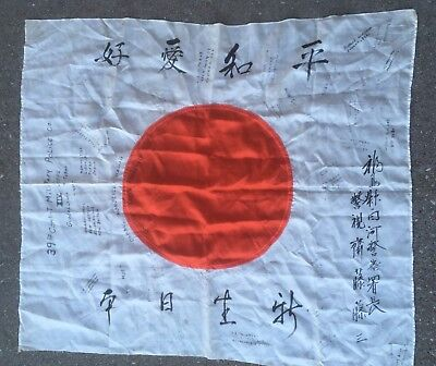 Vintage Original WW2 Meatball Good Luck Silk Flag w Writing 32 x 28.+ more