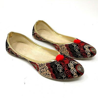punjabi jutti traditional indian shoes red black slippers pom poms US 6.5