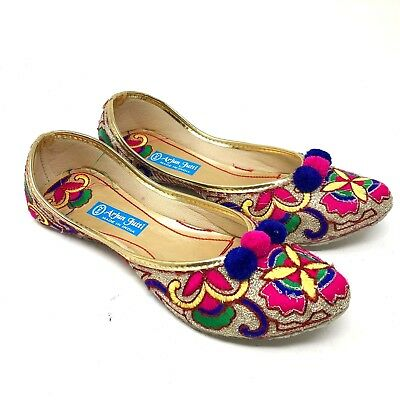 punjabi jutti traditional indian shoes multi color slippers pom poms US 6.5