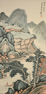 Vintage Chinese Watercolor LANDSCAPE Wall Hanging Scroll Painting - Feng Chaoran